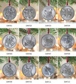 The Twelve Days of Christmas Ornament Set in Pewter