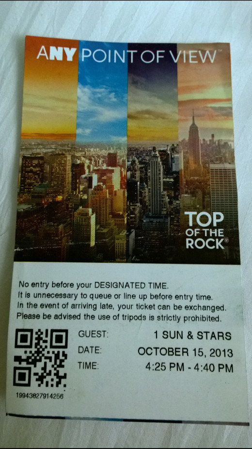 Ticket To The Top Of The Rock