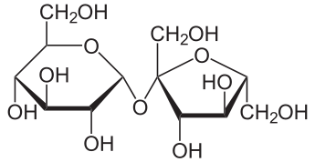 Sucrose Molecule a di-saccharide consisting of glucose and fructose mono-saccharides bonded together.