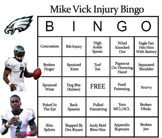 Vick Injury Bingo