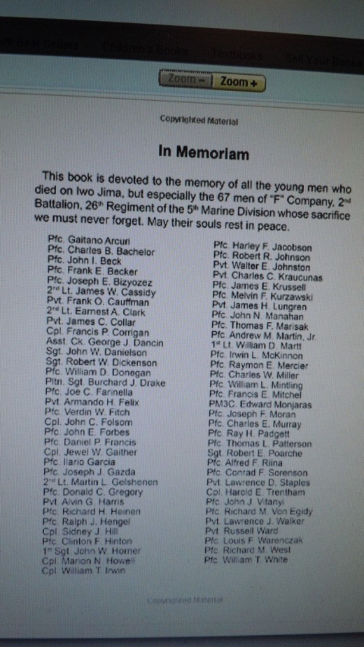 Excerpt listing dedication to KIA of F Company, including John Joseph Vitanyi. Second column, 7th from bottom.