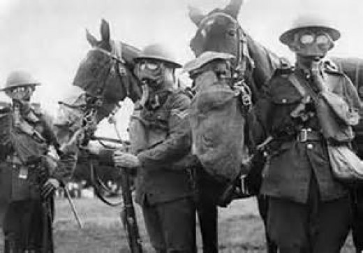 Horses at the front.