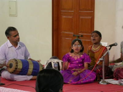 Girl singing Carnatic music