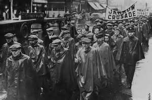 Hungry men march for food and employment.