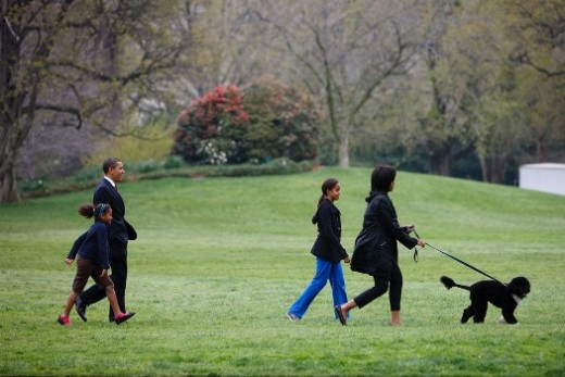 Picture of Obama's taking their dog for a walk as a family.