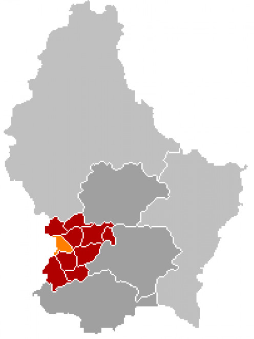 Map location of Steinfort municipality, Luxembourg