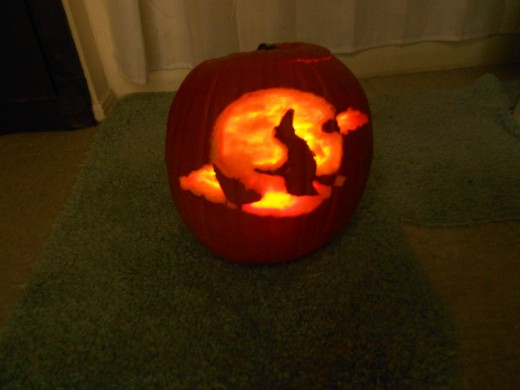 Sometimes the pumpkin's core is a little too thick for candlelight to shine through strongly. If this is the case with your pumpkin, try a small LED light instead.