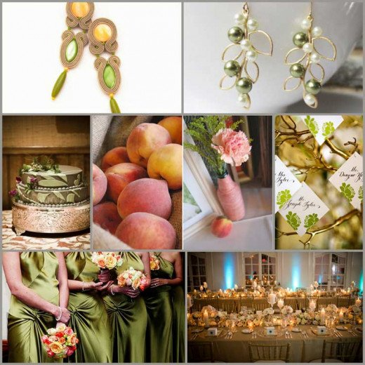 A classic wedding color scheme of gold and peach, with a splash of olive for some added sophistication.