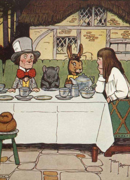 Alice was not impressed with the manners of these party guests...
