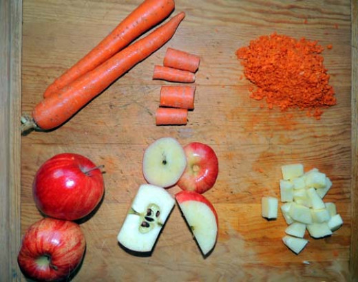 left to right, top to bottom, carrot and apple prep