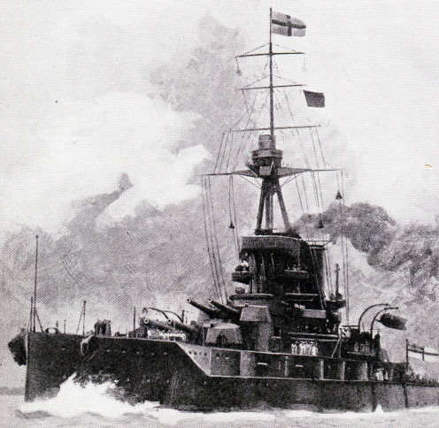 H.M.S. Iron Duke. One of the most powerful of British Dreadnoughts. Built in 1912, she had a length of 620 feet over all, displacement with full load, 26,400 tons, and was armed with ten 13-5 in. guns plus sixteen smaller guns and four torpedo-tubes.
