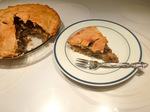 Remove from oven and cool at least 30 minutes before serving.The pie will crumble if served too soon.