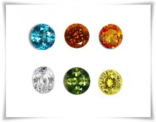 Zircon Stone Colors : Blue, Brown, Orange, White, Green and Yellow