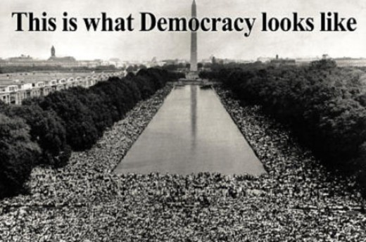 When enough people get peeved with the lack of input into their own government, they take to mass protest to show the real meaning of democracy.