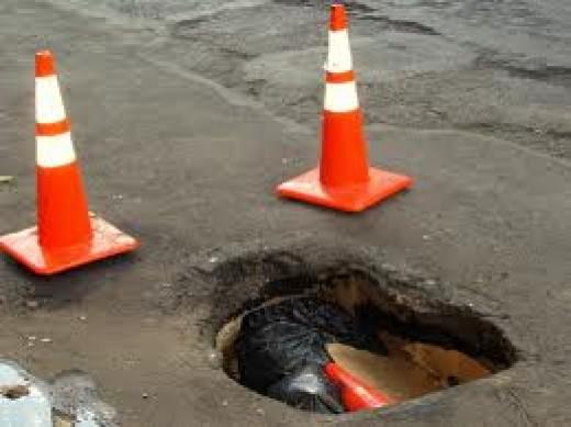 The kind of potholes common on Kenyan roads