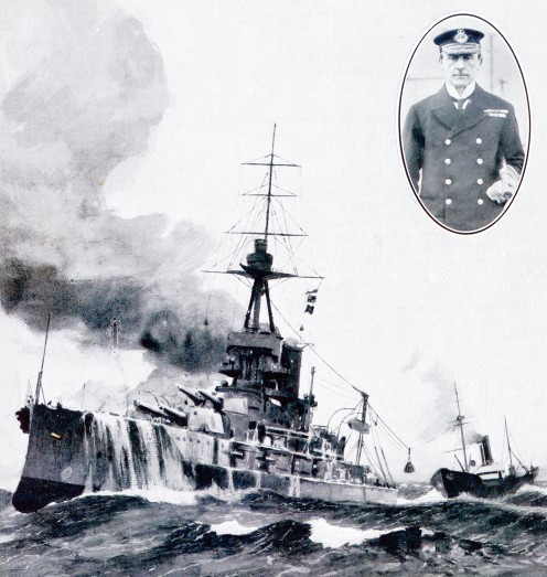 Vice-Admiral Sir John Jellicoe's flagship, 'Iron Duke', being coaled at sea.  Inset: Vice-Admiral Jellicoe himself.