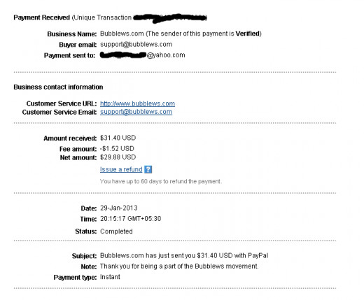 Bubblews payment proof