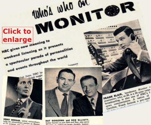 Henry Morgan, Bob & Ray and Frank Blair are featured in a TV-Radio Magazine story