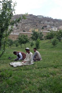 Muslim men praying in Afghanistan.