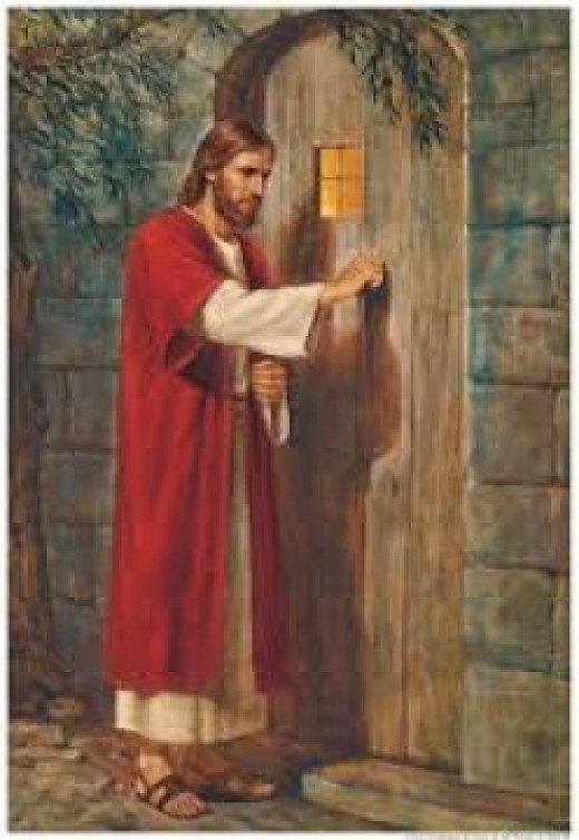 Jesus Christ knocks on the door offering eternal life.