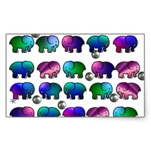 These elephants have also had some success on Zazzle.  Colour is king!