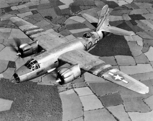 B-26 Painted with black and white invasion stripes for easy recognition on D-day.