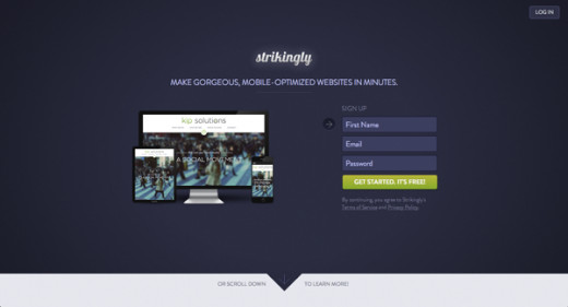 Strikingly is a great way to create a one-pager website for free using an easy online based editor.