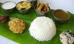 South Indian Meal served on Plantain Leaf