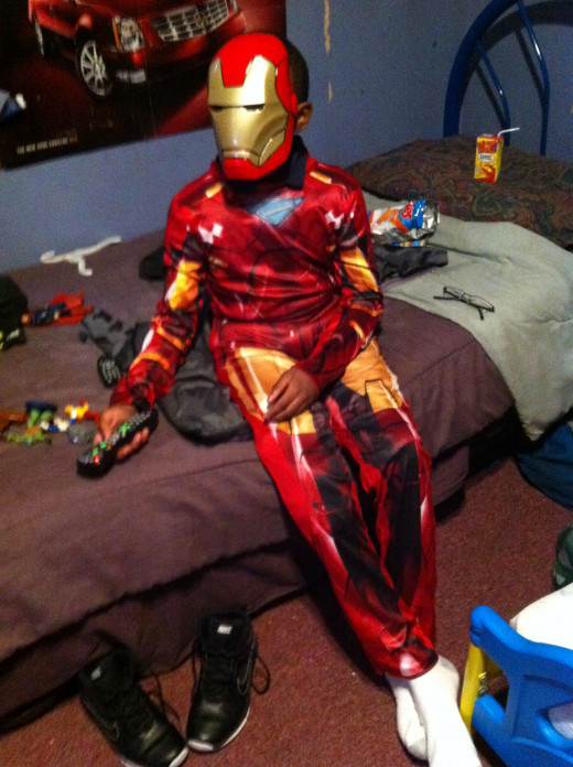 Iron man getting ready.