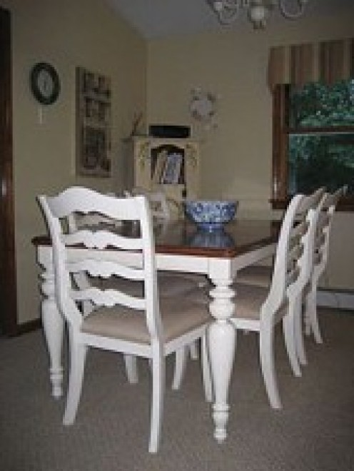 Table and chairs purchased at Jordan's Furniture Outlet (Avon Store). Walls painted Powell Buff.