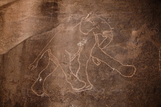 In Libya, you can find prehistoric rock carvings of mammoths. This image was probably drawn during extreme climatic transitions, in the Tadrart Acasus region of the country.