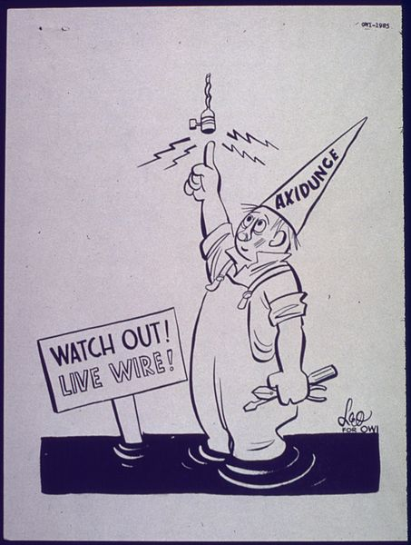 Old WWII industrial safety poster from the NAtional Archives and the Library Of Congress..