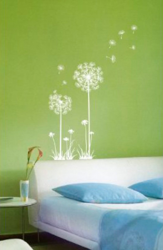 "Suitable for rooms that need extra ""pop"", the dandelion wall decal can be used on both walls and windows."
