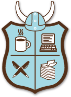 The NaNoWriMo logo. Coffee is capital in the production of literature.