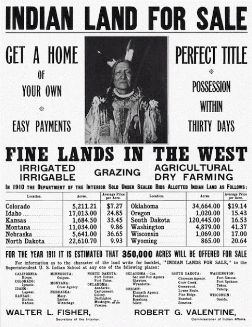 "Allottments for farming led to the sale of ""surplus"" Indian land."