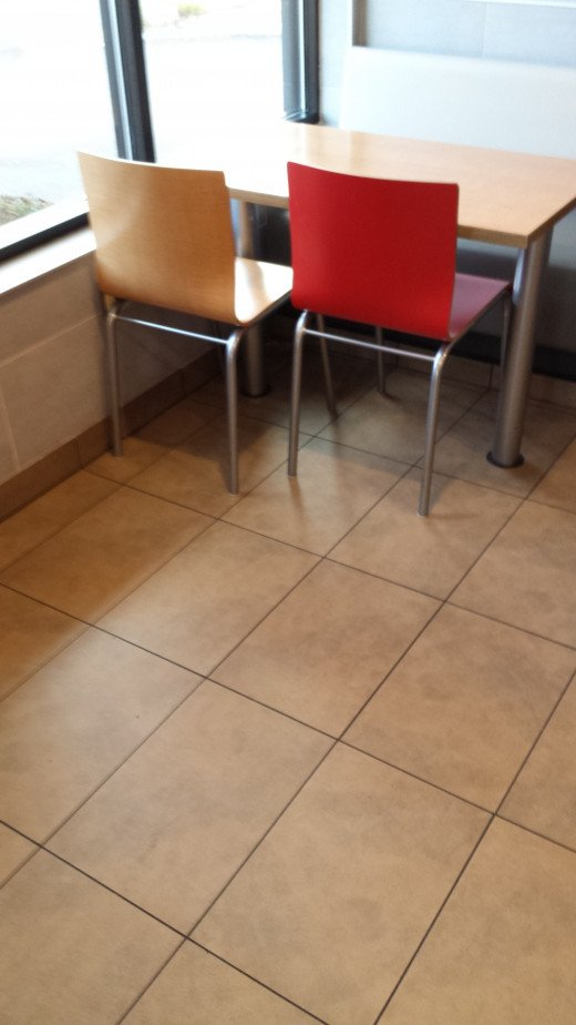The table legs are wide to allow wheel chair or room for two or four persons.