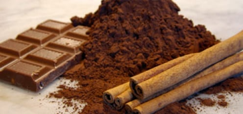 Chocolate bar, powder and cinnamon - all healthy for the body.