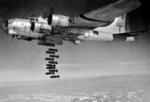 B-17 dropping bombs.