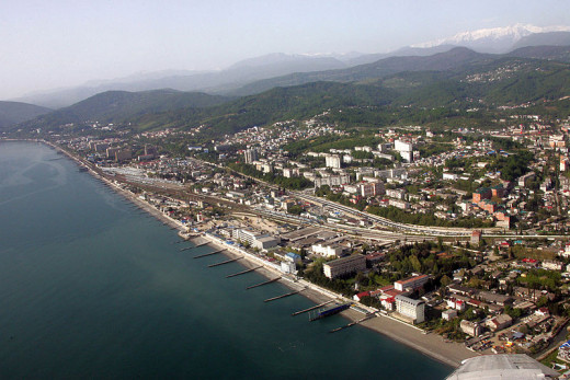 Aerial View of the Coastal City of Sochi, Russia