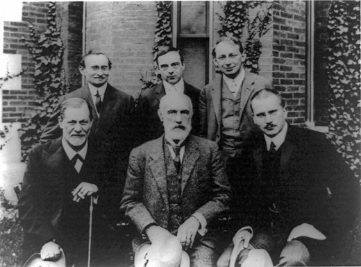 Early Psychologists.  Freud is lower middle and Jung is on his right.