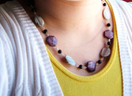 An elegant but simple colour combination: purple, white, black and silver.