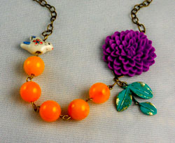 This colour combination is brighter than the natural palette and creates a striking purple bead necklace.