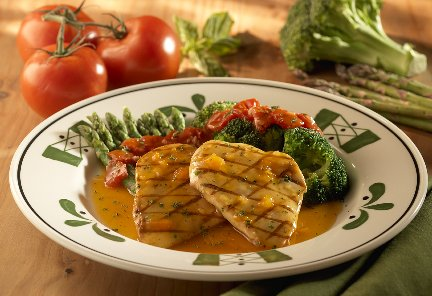 The Venetian Apricot Dinner is a good choice at 400 calories.