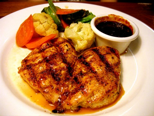 Outback's grilled chicken on the barbie with seasonal vegetables.