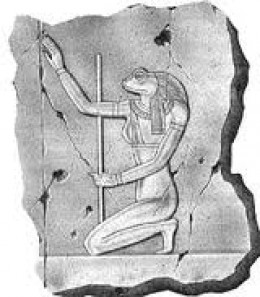 Heqet depicted as a woman with the head of a frog.