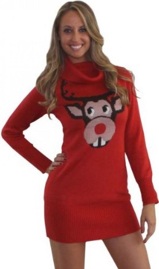 Ugly Christmas Sweater Dress- Bucktooth Rudolph