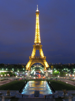 Eiffel Tower at night all lit up