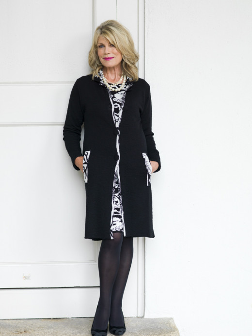 Bellenisa gray and cream knit dress €119.95 Bellenisa black car coat with matching panel €159.95. The oval cream pearl clip earrings: €41 were from Pat Whyte.