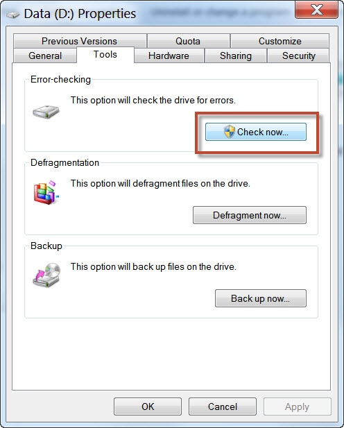 Windows Check Disk Tool