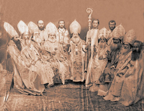 Bishops of the Armenian Catholic Church in Jerusalem wearing mitres.